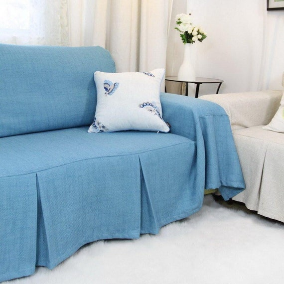 Blue sofa chair covers, sofa throws, linen throws, fabric sofa covers,  couch cover for animals/dogs, sofa couch slipcovers