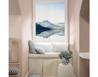 Classic roman shade, custom made, washable  flat and fold with cord,  Blue Ink Mountains