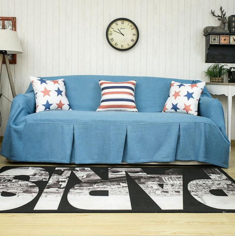 Blue sofa chair covers sofa throws linen throws fabric sofa | Etsy