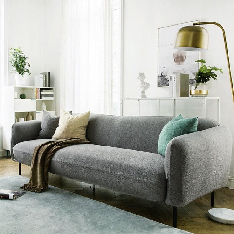 Gray Sofa Covers Jacquard Spandex Fabric Stretch Slipcover, sofa slipcover,  couch cover, sofa furniture protector, sofa throw custom
