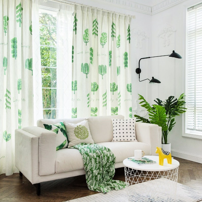 Custom curtain, window curtain, bedroom curtain, living room drapes,  drapery panels, grommet, one panel curtain, blackout, Cute Trees