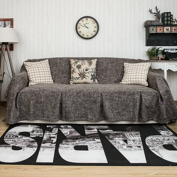 Light Brown sofa cover linen sofa cover fabric sofa cover | Etsy