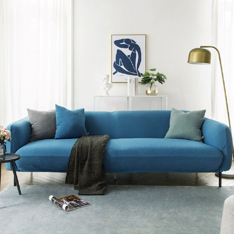 Blue Sofa Covers Jacquard Spandex Fabric Stretch Slipcover | Etsy