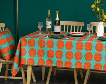 Pumpkin halloween 55 x 86 rectangle tablecloth, printed pattern table cover for birthdays, holiday celebrations, picnic indoor & outdoor use