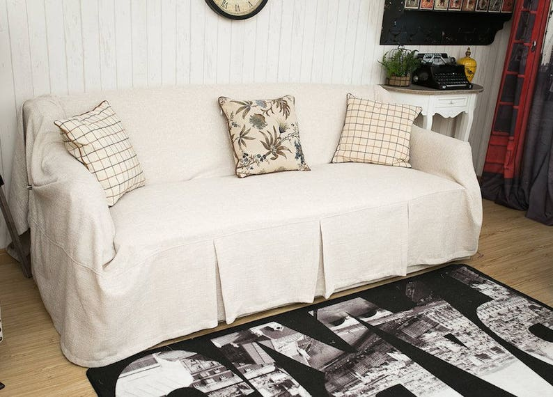 Cream sofa cover, linen slipcover, fabric couch cover, couch cover for  dogs, sofa slipcover, slipcover throws, custom sofa chair covers
