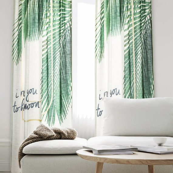 one curtain panel on window old farmhouse image palm tree one panel window curtain panels bedroom etsy