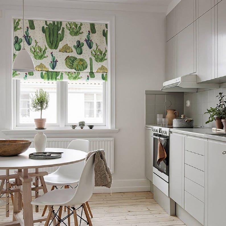 Cacti Village, custom roman shade, kitchen curtains, fabric blinds, diy  roman shade kit, flat & fold roman shades, green window curtains