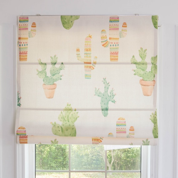 Posey Cactus custom roman shade, kids room window curtains, fabric blinds  flat & fold with cord, window curtain for bedroom, roman blinds