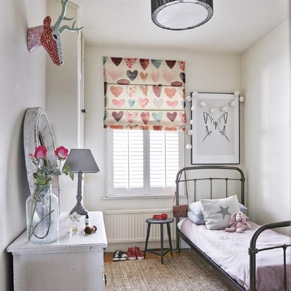 Love Hearts roman shade, kids room window roman shade, girls bedroom roman  shade, door roman shade, easy install, linen fabric blinds custom
