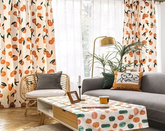 Pair of Luxury Custom Curtain Panel Drapery Rustic cotton embroidered Garden Bedroom & Living Room Curtains,peach