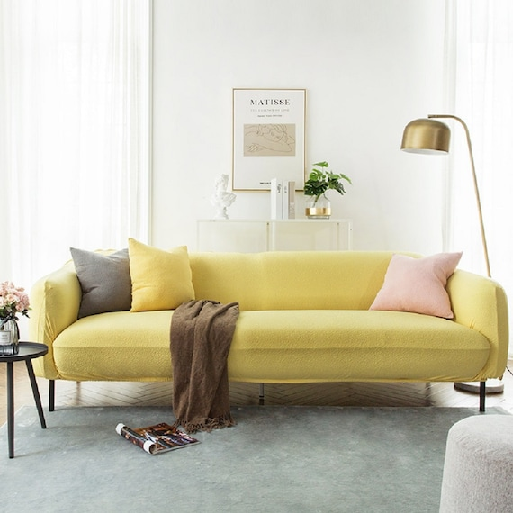 Tremendous Yellow Plain Color Sofa Cover Jacquard Spandex Fabric Stretch Slipcover Furniture Protector Sofa Throw Couch Cover Custom Slipcover Short Links Chair Design For Home Short Linksinfo