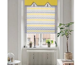 Valance,Classic roman shade, custom made, washable Cotton and linen fabric flat and fold with cord,  gray,yellow