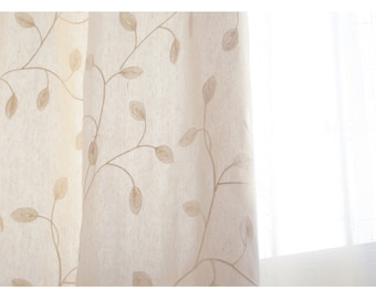 Pair of Luxury Custom Curtain Panel Drapes,Rustic cotton embroidered GardenBedroom & Living Room Curtains Drapery Panels Custom Curtains
