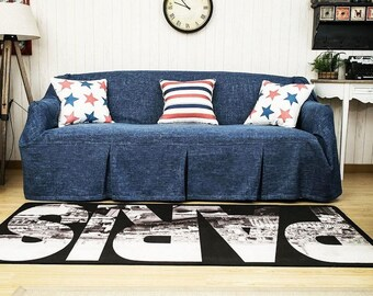 Ink Blue Custom Couch Cover, Couch Cover For Pets, Sofa Throws, Sofa  Slipcovers