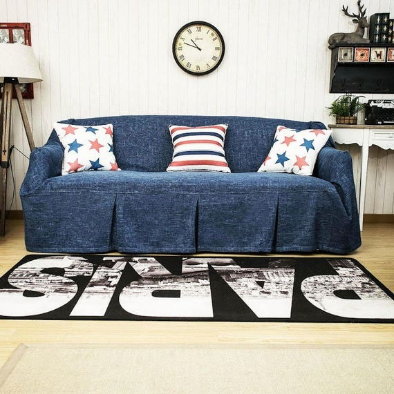 Surprising Ink Blue Custom Couch Cover Couch Cover For Pets Sofa Throws Sofa Slipcovers Linen Fabric Sofa Blanket Couch Covers Couch Slipcovers Pdpeps Interior Chair Design Pdpepsorg