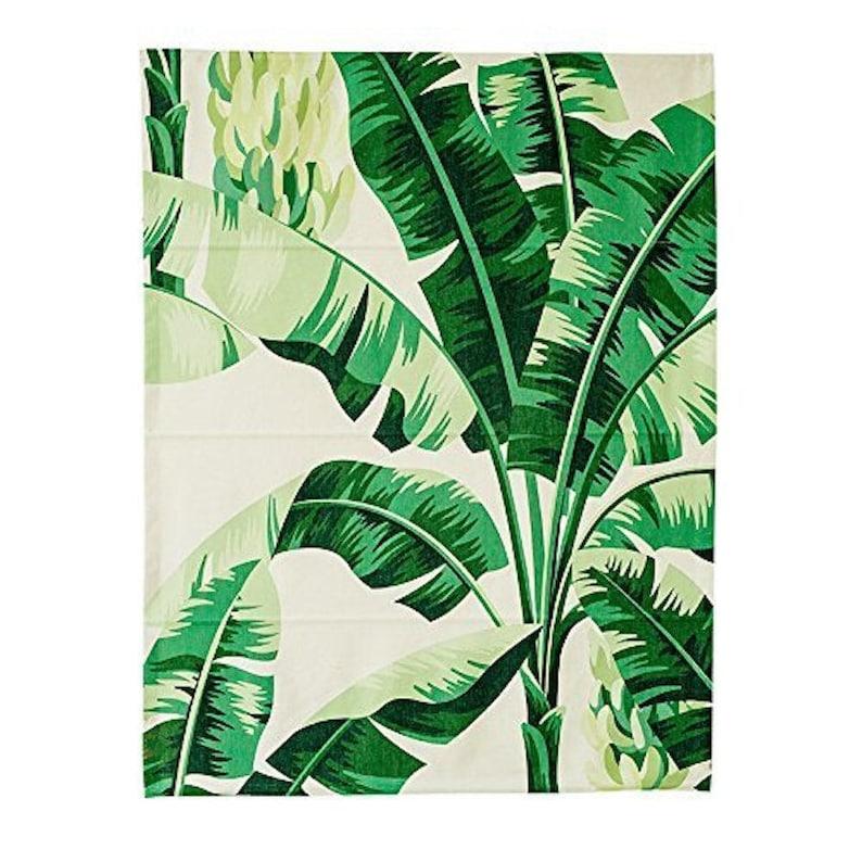 Green Banana Leaves B roman blinds fabric shade diy roman shade kit linen shade washable removable roman shade custom shade washable