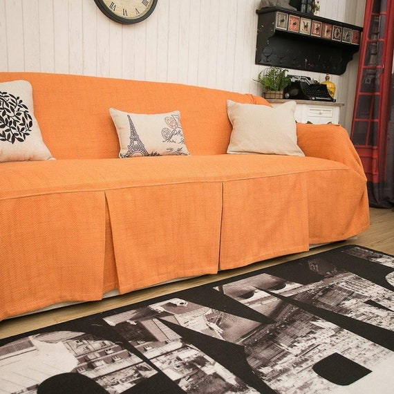 Orange sofa chair covers, linen covers, fabric couch slipcovers, sofa  throws, sofa cover fabric, couch cover for dogs, custom sofa covers