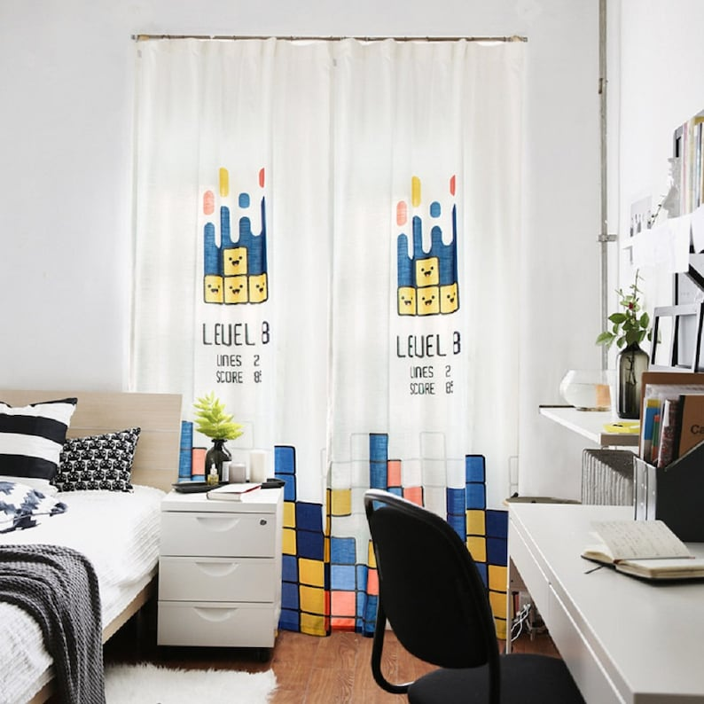 Bedroom curtains, panel curtain, custom length, fabric curtain, hook  curtain, boys bedroom drapery, kids bedroom decor, Happy Elements