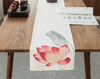 Red Lotus B, handmade linen cotton table runner, floral table decor, red flower kitchen decor,  event celebrations holiday table decoration