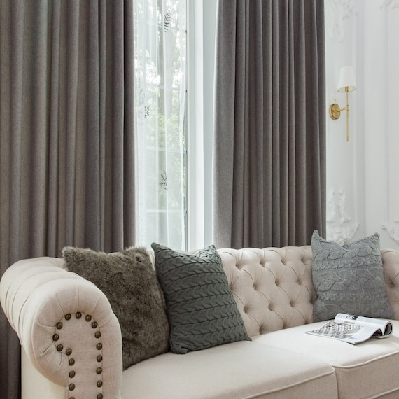 Elegant Gray panel curtain, custom drapes, grommet curtain, living room  drapery, window curtain, blackout, curtain panels, bedroom curtain