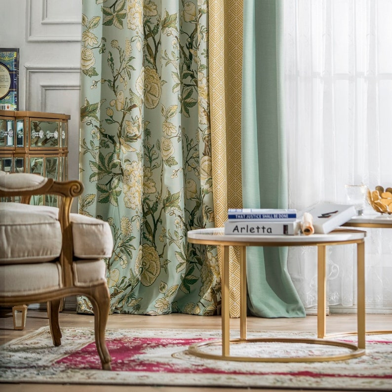 A816 Flora PatternLight YellowSheer Blue 3 in 1 Window Curtain Panel