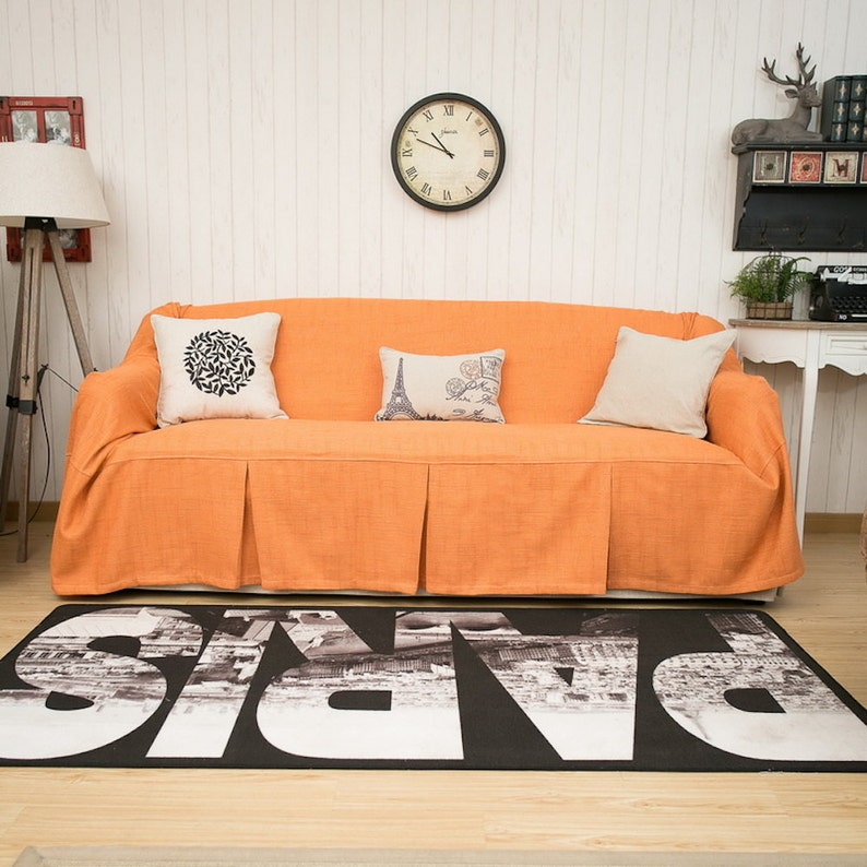 Orange Sofa Chair Covers Linen Covers Fabric Couch Etsy