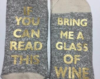 Wine socks. Conversation socks. Bring me a glass of wine socks. Valentine's gift, bff gift. Gift. black line socks