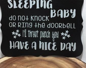 Baby sleeping Door sign, Don't knock sign, do not disturb. Baby Shower gift