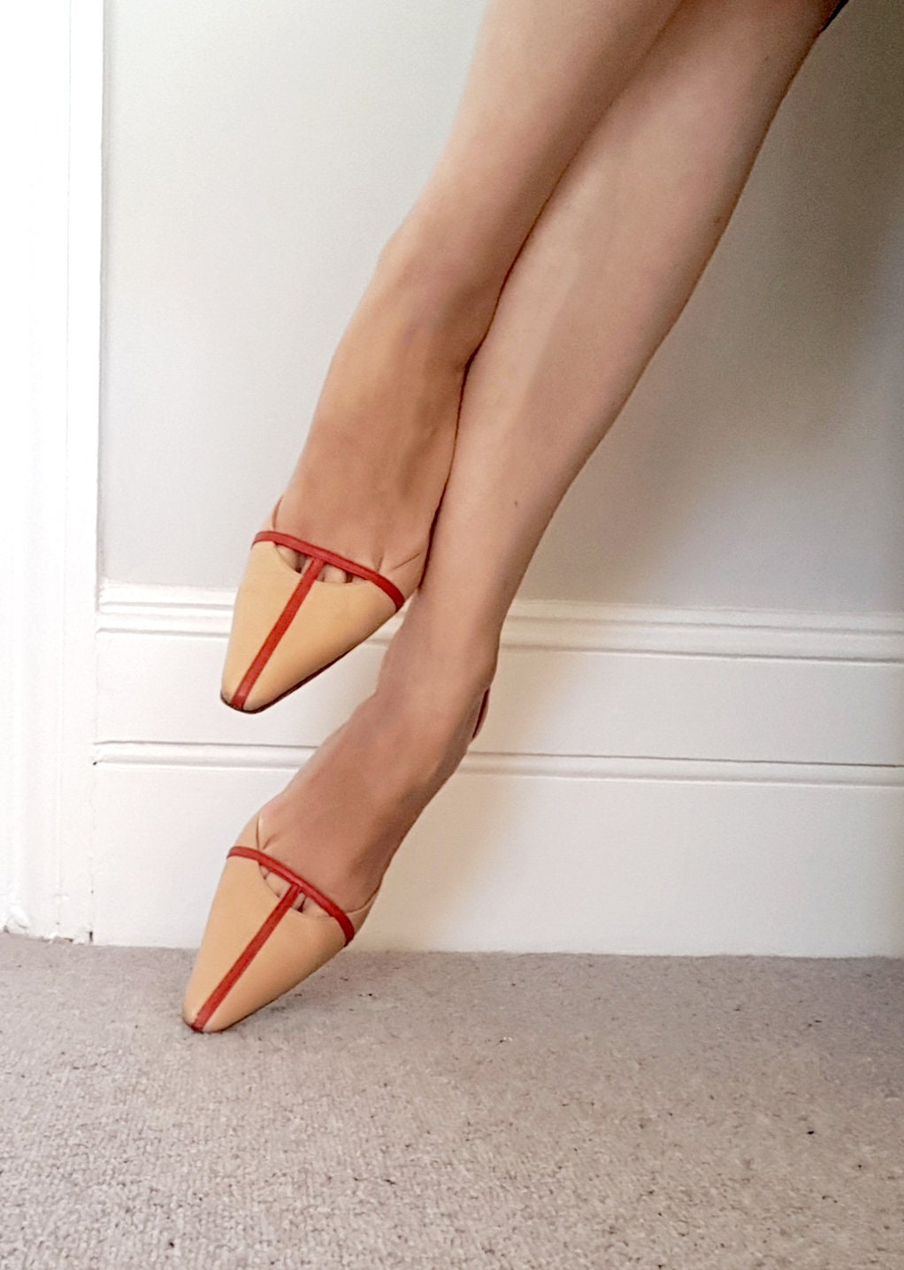Nude and red real leather sling back shoes. UK size 38 5 / IT size 38 size fe392d