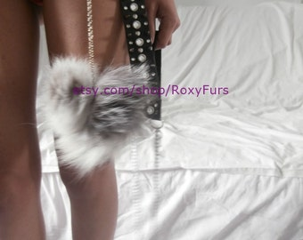 fox fur pompoms charms dangles on chains