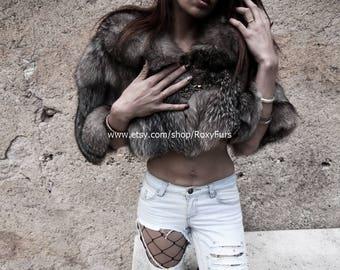 Silver Fox Fur Cape Wrap