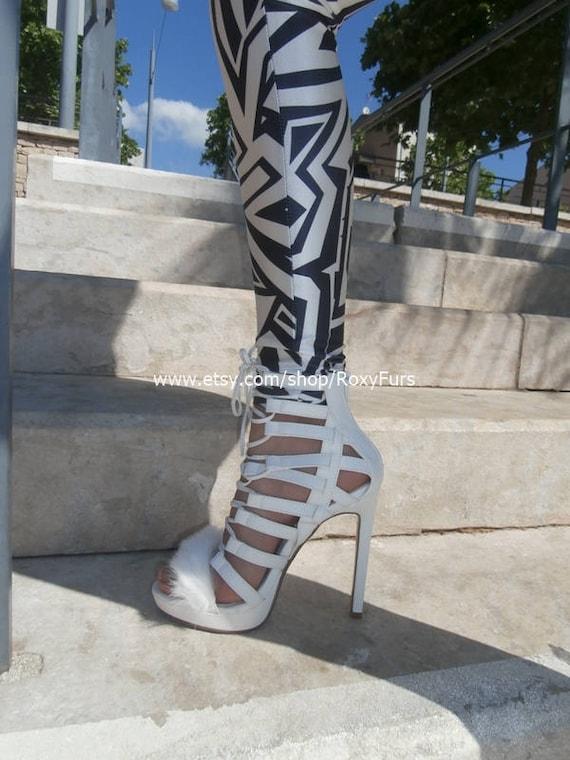 Fur trimmed strappy white high heel Gladiator stiletto sandals Summer Special 15% Discount