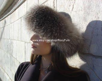 Grey Fox Fur & Cashmere Hat