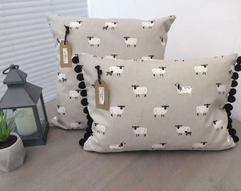 "16"" Sheep Print Cushion Cover Grey"