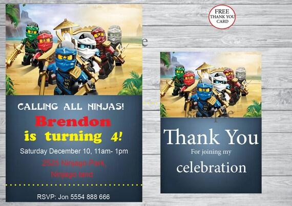 Ninjago Party Birthday Invitation Free Thank You Card