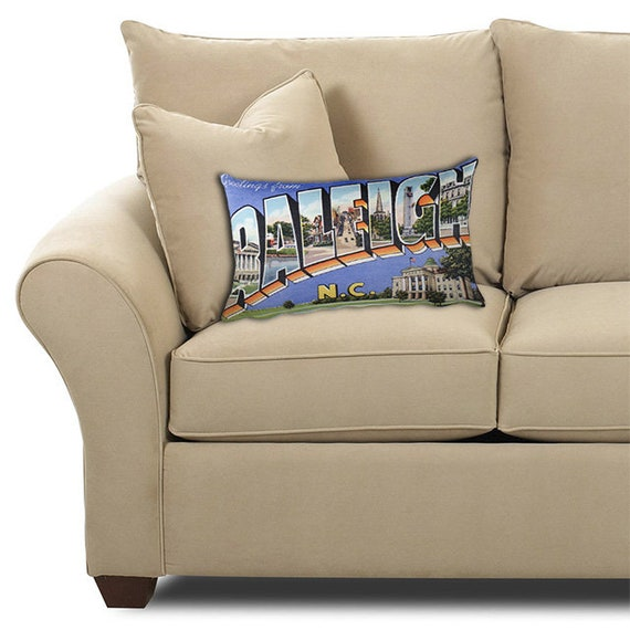 Raleigh North Carolina Nc Pillow Vintage Greetings From Large Letter Postcard 20x12 Throw Pillow With Insert Retro Travel Gift Souvenir