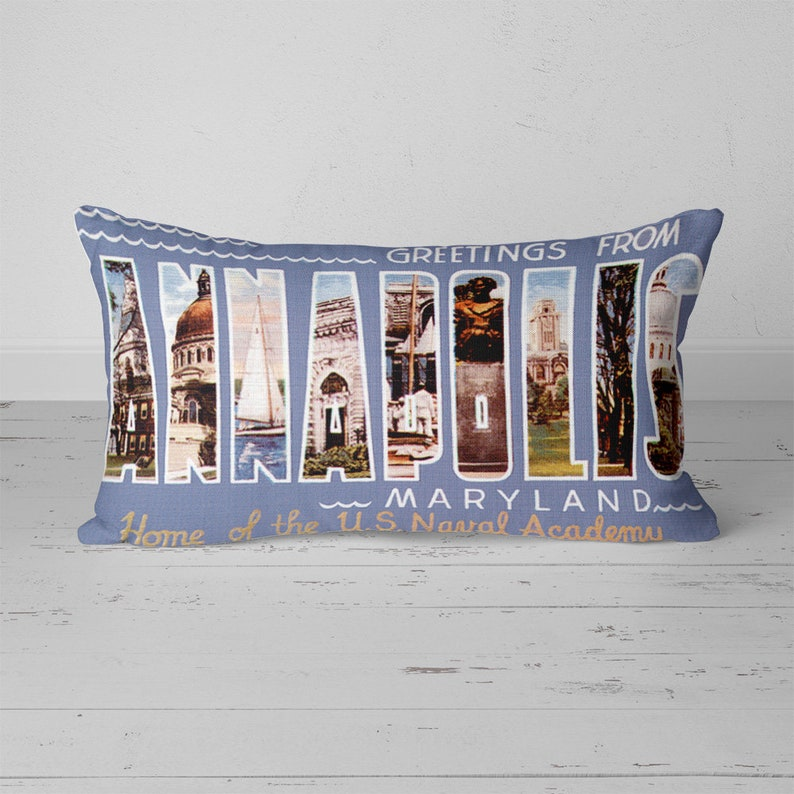 Annapolis Maryland MD Pillow Vintage Greetings From Large Letter Postcard 20x12 Throw Pillow With Insert Retro Travel Gift Souvenir