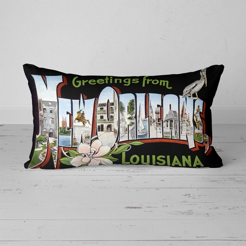 New Orleans Louisiana La Pillow Vintage Greetings From Large Etsy