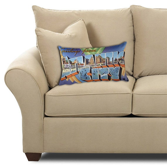 Fine Atlantic City New Jersey Nj Pillow Vintage Greetings From Large Letter Postcard 20X12 Throw Pillow With Insert Retro Travel Gift Souvenir Andrewgaddart Wooden Chair Designs For Living Room Andrewgaddartcom