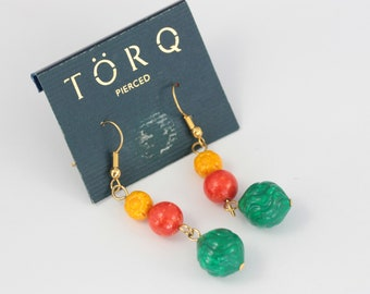 NEW OLD STOCK, 90s Festival Earrings, Multi Colour Bead Earrings, Yellow Red and Green Earrings, Dangle Earrings