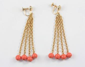 4e95462f4 Vintage Chain Screw Back Earrings, Long 60s Dangle Earrings, Gold Tone  Chain Earrings, Faux Coral Earrings, Long Chain Earrings