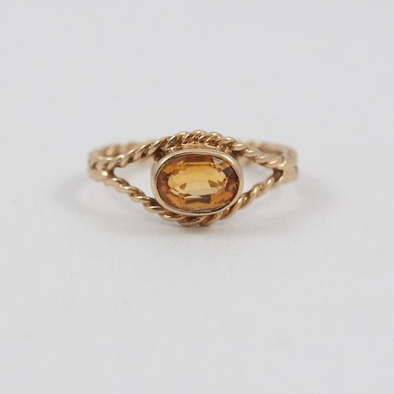Vintage 9ct Gold Citrine Solitaire Rope Ring, 1984