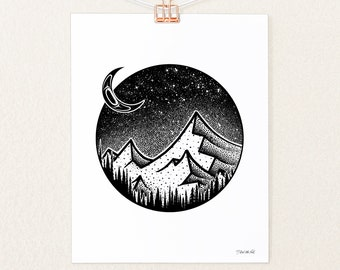 Tlingit Moon and Mountain Illustration   Black and White Art Print   Living Room and Kitchen Wall Decor by Seattle Artist Nick Alan Foote