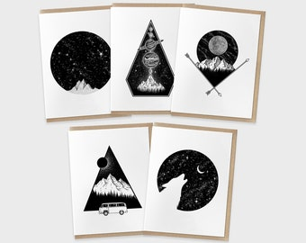 Pacific Northwest Coast Greeting 5 Card Set   Thank You Cards   Birthday Cards   Blank Modern Illustration Invitation Pack