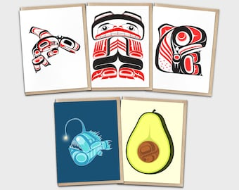 Tlingit Pacific Northwest Coast Native American Greeting Card Set   Thank You Card Pack   Birthday Cards   Blank Invitation 5 Pack