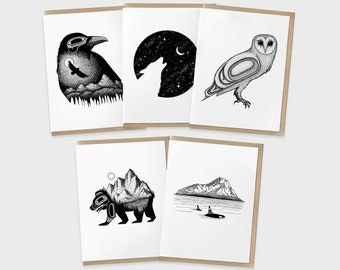 Greeting Card Set Pack of 5 Cards   Northwest Thank You Cards   Animal Birthday Cards   Blank Invitation   Graduation Cards   Get Well Soon