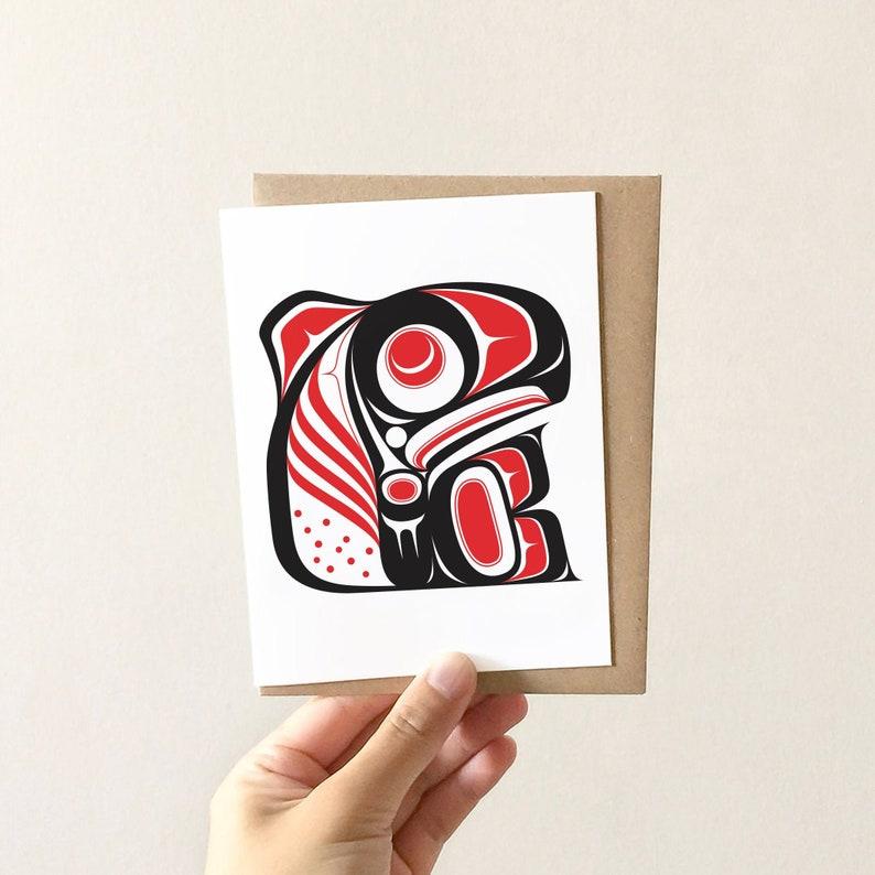 Birthday Card Invitation Tlingit Thank You Card Set by Alaskan Artist Nick Alan Foote Northwest Coast Sockeye Salmon Blank Greeting Card