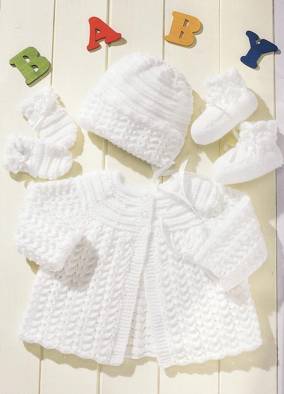 "20/"" DK Knitting Pattern Vintage  Baby Matinee Coat Lace Pattern 12/"""