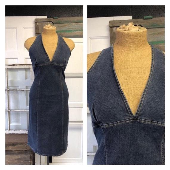Denim Halter Dress 1970s
