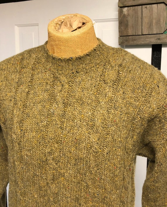 Traditional Aran Fisherman's Wool Cable Knit Sweat
